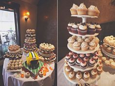 cupcake towers with grooms cake for fall utah wedding - photographybyharmony.com