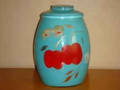 1950's Bartlett Collins Hand Painted Glass Cookie Jar in Turquoise