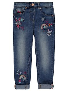 Bunny Embroidered Denim Jeans, read reviews and buy online at George at ASDA. Shop from our latest range in Kids. These super-stylish jeans in a faded wash a...