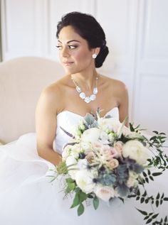 This bride in Connecticut embodied the effortless beauty that we are known for at Simply Gorgeous by Erin | Top bridal makeup artist for Connecticut and top bridal hairstylist for Connecticut and area. This updo and natural makeup combination is stunning. Elegant Wedding, Floral Wedding, Wedding Bouquets, Wedding Flowers, Wedding Decor, Wedding Ideas, Bridal Hair And Makeup, Hair Makeup, Glam Makeup