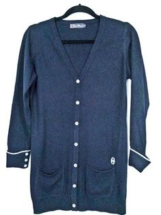 Conte Of Florence Italy Wool Cashmere Blend Navy Boyfriend Cardigan S Small #ConteOfFlorence #Cardigan