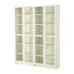 BILLY/OXBERG Bookcase, white, glass
