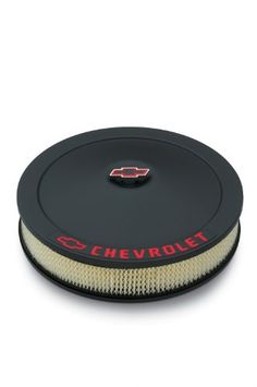 """Proform 141-752 Black Crinkle 14"""" Diameter Air Cleaner Kit with Red Chevrolet/Bowtie Logo and 3"""" Paper Filter. For product info go to:  https://www.caraccessoriesonlinemarket.com/proform-141-752-black-crinkle-14-diameter-air-cleaner-kit-with-red-chevroletbowtie-logo-and-3-paper-filter/"""