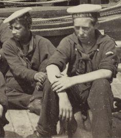 Sailors of the USS Mendota (detail), James River, VA, August 1864. http://revoltedstates.tumblr.com/post/121680344104/sailors-of-the-uss-mendota-detail-james-river