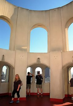 """San Francisco - inside Coit Tower's """"Skydeck"""" ~See all of SF! Coit Tower San Francisco, San Francisco City, San Francisco Travel, San Francisco California, Redwood City California, Places In California, Northern California, Central Valley, San Fransisco"""