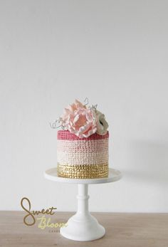 Pink Ombre & Gold Cake