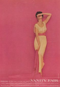 Fashion shot from the 1950's in Peony Pink and Blush