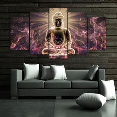 5 Pieces Buddhism Abstract Buddha Statue Painting Modular Canvas Wall Art