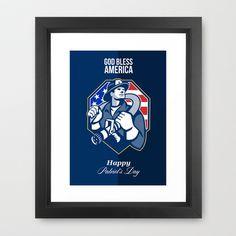 Happy Patriots Day God Bless America Retro Framed Art Print