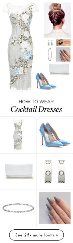 """""""Untitled #328"""" by myrnalankreijer on Polyvore featuring Marchesa, Gianvito Rossi, GUESS, Cartier, women's clothing, women, female, woman, misses and juniors"""
