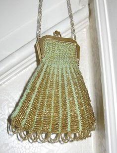 Vintage Accessories Clever Antique Art Nouveau Gold Filigree Frame Hand Knit Brown Iridescent Bead Purse Antiques