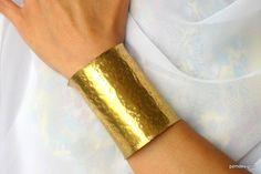 Super Wide Brass Cuff, Artisan Crafted Gold Cuff