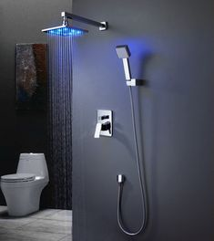 Inch LED brass bathroom rainfall led shower faucet mixer tap set with copper shower head home improvement Shower Faucet Sets, Shower Valve, Shower Set, Bathtub Shower, Shower Ideas, Best Rain Shower Head, Led Shower Head, Cool Shower Heads, Brass Bathroom