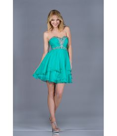 2013 Prom Dresses - Jade Chiffon Sweetheart Short Prom Dress - Unique Vintage - Cocktail, Pinup, Holiday & Prom Dresses.