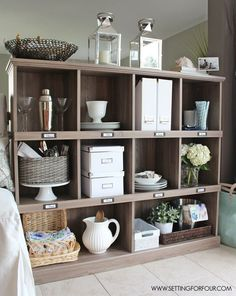 Add storage and organization to your kitchen with a bookcase! I love the salt oak finish.
