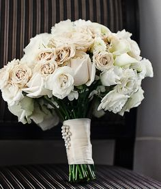 Bouquet Inspiration: Elegant white wedding bouquet embellished with crystal sash #white #bouquets
