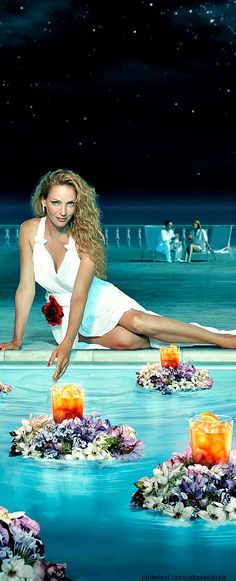 Luck Be A lady- Poolside with Uma Thurman for Camapri | LadyLuxuryDesigns