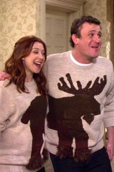 Lily and Marshall - Haha! We have to find these sweaters somewhere for the annual ugly sweater party.I think we would win! Best Tv Couples, Best Couple, Cutest Couples, Perfect Couple, How I Met Your Mother, Ugly Sweater Party, Ugly Christmas Sweater, Tacky Sweater, Holiday Sweaters