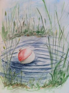 Fishing Pond, Watercolor Painting Print, landscape watercolor art, watercolor print, fishing painting, summer painting, pond lake fishing. by RPeppers on Etsy https://www.etsy.com/listing/65241395/fishing-pond-watercolor-painting-print