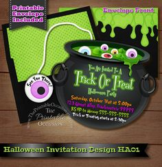 HALLOWEEN PARTY INVITATION PRINTABLE DIGITAL FILE  Once I receive all of the info requested from the 'HOW TO ORDER' portion below, I'll then create your card and send the 300dpi high resolution JPG FILE back to you via Etsy messaging (for proof of delivery). From there, you can easily download the file to your computer or flash drive and print as many copies as youd like from home or from your local or online photo lab for personal use. (No printed materials will be mailed to you.)  ►…