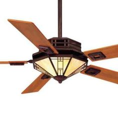 Mission Fan with Amber Shade and Teak Blades , Mission Ceiling Fans, Mission Lighting