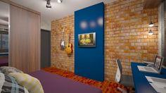 O dormitório de jovem universitário de 21 anos foi pensado pontuando cores e texturas no ambiente. Inspirado no design industrial, com o uso de texturas como o cimento queimado, tijolo aparente nas paredes e o uso de materias considerados simples, como o OSB.