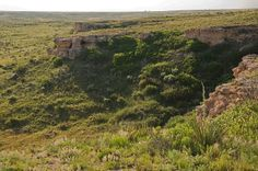 Point of Rocks, Morton County, Kansas.  (Now Cimarron National Grasslands)  The Santa Fe Trail runs in the Cimarron River Valley directly below this rock formation.   (Photo by Frank Thompson)