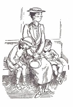 Mary Shepard's illustration of Mary Poppins with the characters Jane and Michael Banks in Valerie Lawson's biography of P. L. Travers.