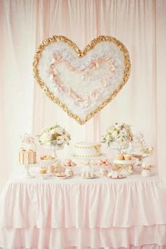 Little Big Company: pink and gold dessert table by Avie & Lulu- love that table cloth. Pink Und Gold, Rose Gold, Blush Pink, Pink White, Wedding Desserts, Wedding Cakes, Wedding Decorations, Valentines Day Desserts, Valentines Day Party