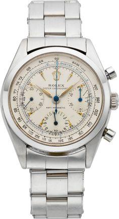 "Timepieces:Wristwatch, Rolex Ref. 6234 Very Fine & Rare ""Pre-Daytona"" Anti-MagneticOyster Chronograph, circa . Dream Watches, Fine Watches, Luxury Watches, Rolex Watches, Wrist Watches, Antique Watches, Vintage Watches, Rolex Vintage, Cheap Watches For Men"
