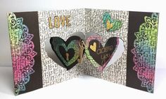 Kelly Booth using the Pop it Ups Heart Pivot Card and Paris Edges dies by Karen Burniston for Elizabeth Craft Designs. Also uses ECD Alphabet Caps die. - Lovin The Life I Color: First Card for the February Karen Burniston Designer Challenge