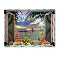 Leo Kelly 'Tropical Window to Paradise III' Canvas Art   Overstock.com Shopping - The Best Deals on Gallery Wrapped Canvas
