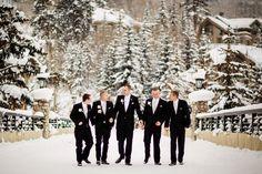 Winter wedding groomsmen