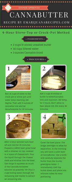 10 Easy Steps for either Stove-Top or Crock-Pot CannaButter. 3 ingredients: butter, water, & marijuana. You can also use bud, hash or kief for this recipe