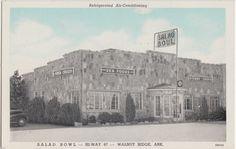 Old Walnut Ridge Arkansas AR Postcard Salad Bowl Roadside HIWAY67 Restaurant | eBay
