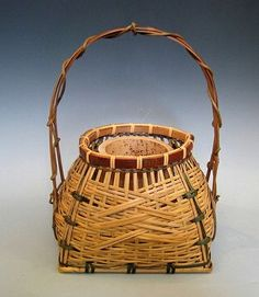 Delicate Japanese white bamboo flower basket or hanakago, Taisho period, c. 1912-1926. Rich honey-brown age-old patina.