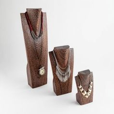 Buy A Set of 3 Dark Wood Necklace Holders for Displays Earring Display Stands, Necklace Display, Necklace Holder, Wood Jewelry Display, Wooden Jewelry, Custom Jewelry, Jewellery Displays, Small Necklace, Wood Necklace