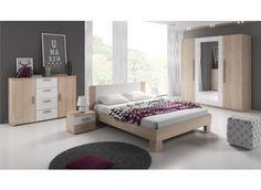 Slaapkamer Victor 160 - Licht eiken - Wit - Groot