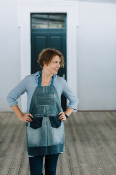 Light grey denim apron // Remade by Yours Again Denim Aprons, Overalls, Urban, Grey, Fabric, Pants, Handmade, Collection, Fashion