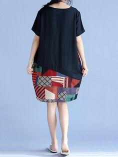 Print Patchwork Short Sleeve O Neck Women Dresses
