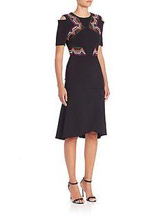 Roland Mouret Moresby Raffia Trim Stretch Crepe Dress, black/orange/multi, shoulder cutouts, $2825