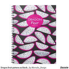 Dragon fruit pattern on black background notebook