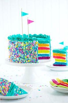 DIY Food Rezept und Backen: Regenbogenkuchen Torte selbermachen siehe 2.) Konfetti Kuchen