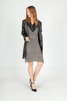 BLACK COLLAR SHIRT | KNIT DRESS | FAUX LEATHER COAT WITH STITCHED DETAILS | LAYERING LOOK | MIILLA