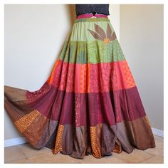 Autumn Anthem - Long Twirly Patchwork Hippie skirt, Tiered Bohemian Gypsy Skirt, Fall Autumn skirt, Best for sizes - M to XL