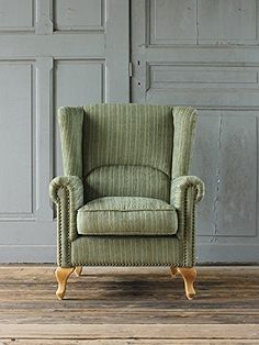 Amazon|ウィングバックソファ 一人掛け グリーンコーデュロイ VW1F207N|ソファ オンライン通販 Wingback Chair, Armchair, Accent Chairs, Antiques, Interior, Furniture, Home Decor, Sofa Chair, Upholstered Chairs