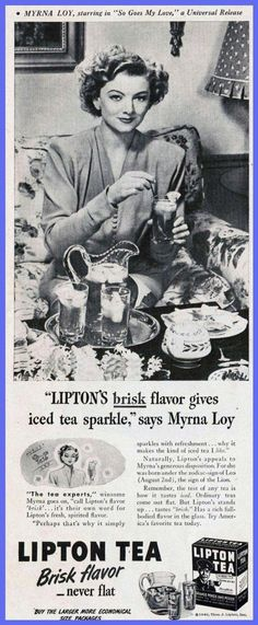 """Myrna Loy ad for Lipton Tea in Life magazine, 1946 (tie-in for """"So Goes My Love"""")"""