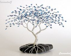 Items similar to Wire Tree Sculpture Beaded Bonsai Purple Blue Blossoms CUSTOM made to order on Etsy Wire Crafts, Bead Crafts, Bonsai Trees For Sale, Wire Tree Sculpture, Wire Trees, Tree Branches, Tree Wall Art, Metal Tree, Jewelry Tree