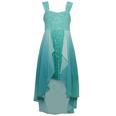 Gorgeous occasion dress from Tween Diva featuring a hi-lo trendy design in mint color with sparkle accents. The dress features elegant embroidery and has hi-lo overlaid ruffled skirt separated into two parts. The dress slips easily overhead for a stylish