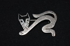 Sterling Silver Taxco Mexico Cat Brooch by FabulousVintageStore